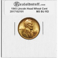 1945 Lincoln Cent - MS-60 RD MINT STATE BRILLIANT UNCIRCULATED RED - 2017102101