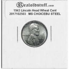 1943 Lincoln Cent - MS-63 MINT STATE CHOICE UNCIRCULATED STEEL - 2017102503