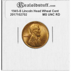 1945-S Lincoln Cent - MS-63 RD MINT STATE CHOICE UNCIRCULATED RED - 2017102702