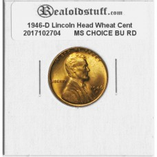 1946-D Lincoln Cent - MS-63 RD MINT STATE CHOICE UNCIRCULATED RED - 2017102704