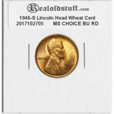 1946-S Lincoln Cent - MS-63 RD MINT STATE CHOICE UNCIRCULATED RED - 2017102705