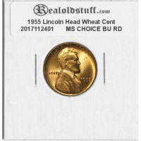 1955 Lincoln Cent - MS-63 RD MINT STATE CHOICE UNCIRCULATED RED - 2017112401