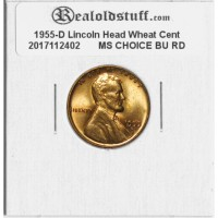 1955-D Lincoln Cent - MS-63 RD MINT STATE CHOICE UNCIRCULATED RED - 2017112402