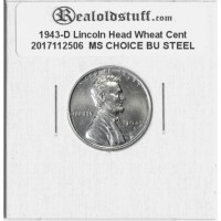 1943-D Lincoln Cent - MS-63 MINT STATE CHOICE UNCIRCULATED STEEL - 2017112506
