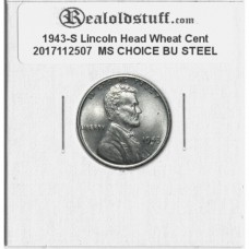 1943-S Lincoln Cent - MS-63 MINT STATE CHOICE UNCIRCULATED STEEL - 2017112507