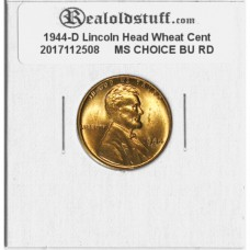 1944-D Lincoln Cent - MS-63 RD MINT STATE CHOICE UNCIRCULATED RED - 2017112508