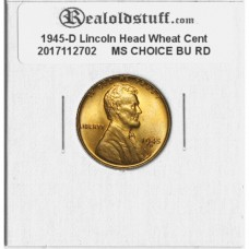 1945-D Lincoln Cent - MS-63 RD MINT STATE CHOICE UNCIRCULATED RED - 2017102702