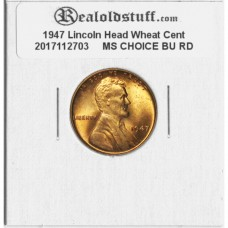 1947 Lincoln Cent - MS-63 RD MINT STATE CHOICE UNCIRCULATED RED - 2017102703
