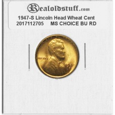 1947-S Lincoln Cent - MS-63 RD MINT STATE CHOICE UNCIRCULATED RED - 2017102705