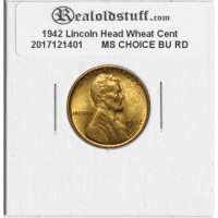 1942 Lincoln Cent - MS-63 RD MINT STATE CHOICE UNCIRCULATED RED - 2017121401