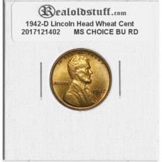 1942-D Lincoln Cent - MS-63 RD MINT STATE CHOICE UNCIRCULATED RED - 2017121402