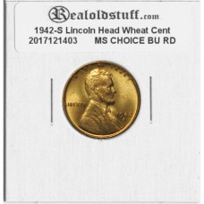 1942-S Lincoln Cent - MS-63 RD MINT STATE CHOICE UNCIRCULATED RED - 2017121403