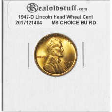 1947-D Lincoln Cent - MS-63 RD MINT STATE CHOICE UNCIRCULATED RED - 2017121404