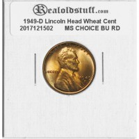 1949-D Lincoln Cent - MS-63 RD MINT STATE CHOICE UNCIRCULATED RED - 2017121502