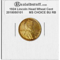 1924 Lincoln Cent - MS-63 RB MINT STATE CHOICE UNCIRCULATED RED/BROWN - 2018050101