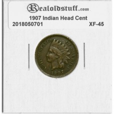1907 Indian Head Cent EXTRA FINE BROWN XF-45 - 2018050701