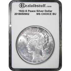 1922-S Peace Silver Dollar CHOICE BU MS63 - 2018050902
