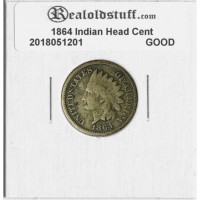 1864 Copper Nickel Indian Head Cent GOOD BROWN GD4 - 2018051201