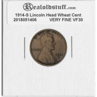 1914-S Lincoln Cent - VF-30 VERY FINE CIRCULATED BROWN - 2018051406
