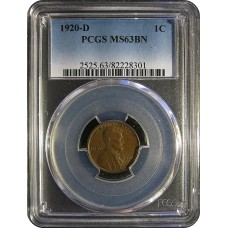 1920-D Lincoln Cent - PCGS MS-BN MINT STATE CHOICE UNCIRCULATED BROWN - 2018051704