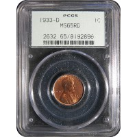1933-D Lincoln Cent - PCGS MS-65 RD MINT STATE GEM UNCIRCULATED RED - 2018051808