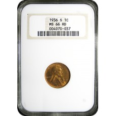 1936-S Lincoln Cent - NGC MS-66 RD MINT STATE GEM PLUS UNCIRCULATED RED - 201051910