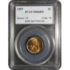 1937 Lincoln Cent - PCGS MS-66 RD MINT STATE GEM PLUS UNCIRCULATED RED - 2018051911