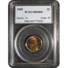 1938 Lincoln Cent - PCGS MS-66 RD MINT STATE GEM PLUS UNCIRCULATED RED - 2018052001