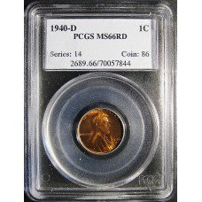 1940-D Lincoln Cent - PCGS MS-66 RD MINT STATE GEM PLUS UNCIRCULATED RED - 2018052101
