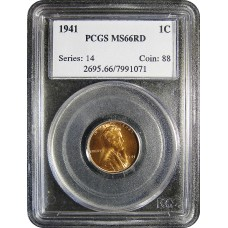 1941 Lincoln Cent -PCGS MS-66 RD MINT STATE GEM PLUS UNCIRCULATED RED - 2018052103
