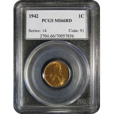 1942 Lincoln Cent - PCGS MS-66 RD MINT STATE GEM PLUS UNCIRCULATED RED - 2018052106