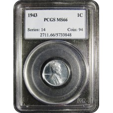 1943 Lincoln Cent - PCGS MS-66 MINT STATE GEM PLUS UNCIRCULATED STEEL - 2018052109