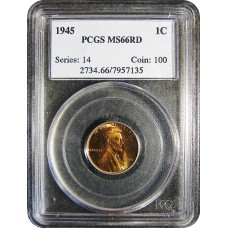 1945 Lincoln Cent - PCGS MS-66 RD MINT STATE GEM PLUS UNCIRCULATED RED - 2018052604