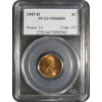 1947-D Lincoln Cent - PCGS MS-66 RD MINT STATE GEM PLUS UNCIRCULATED RED - 2018052811