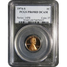 1974-S Lincoln Cent - PCGS PR-69 RD DCAM MINT PROOF RED - 2018061203