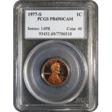 1977-S Lincoln Cent - PCGS PR-69 RD MINT STATE PROOF RED - 2018061305