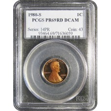 1980-S Lincoln Cent - PCGS PR-69 DEEP CAMEO MINT STATE NEAR PERFECT RED - 2018061505