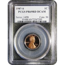 1987-S Lincoln Cent - PCGS PR-69 RD MINT STATE NEAR PERFECT DEEP CAMEO PROOF RED - 2018062102