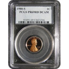 1988-S Lincoln Cent - PCGS PR-69 RD MINT STATE NEAR PERFECT DEEP CAMEO PROOF RED - 2018062103