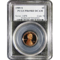 1989-S Lincoln Cent - PCGS PR-69 RD MINT STATE NEAR PERFECT DEEP CAMEO PROOF RED - 2018062202
