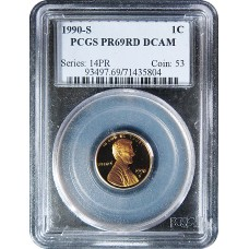 1990-S Lincoln Cent - PCGS PR-69 RD MINT STATE NEAR PERFECT DEEP CAMEO PROOF RED - 2018062301