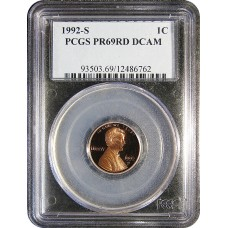 1992-S Lincoln Cent - PCGS PR-69 RD MINT STATE NEAR PERFECT DEEP CAMEO PROOF RED - 2018062502