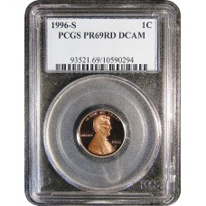 1996-S Lincoln Cent - PCGS PR-69 RD MINT STATE NEAR PERFECT DEEP CAMEO PROOF RED - 2018062801