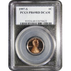 1997-S Lincoln Cent - PCGS PR-69 RD MINT STATE NEAR PERFECT DEEP CAMEO PROOF RED - 2018062804