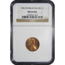 1983/83 Lincoln Cent Double Die - PCGS MS64RD - MINT STATE NEAR GEM UNCIRCULATED