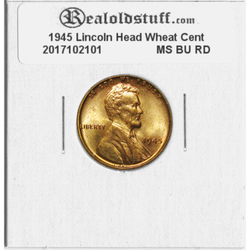 1945 Lincoln Wheat Cent Choice BU Penny US Coin